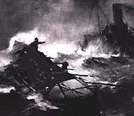 """Pride Of Our Isles"" Bernard Gribble's dramatic painting of an early lifeboat assisting a wrecking steamer, courtesy RNLI"